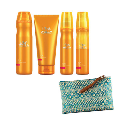Wella Sun Hair and body shampoo 250ml Express Conditioner 200ml Hydrator 150ml Spray fine hair 150ml Cadeau pochette