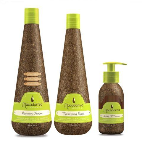 Macadamia Kit2: Rejuvenating Shampoo, Moisturizing Rinse, Healing Oil Treatment