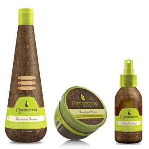 Macadamia Kit4: Rejuvenating Shampoo, Deep Repair Masque, Healing Spray Oil