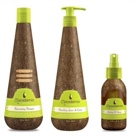 Macadamia Kit5: Rejuvenating Shampoo, Nourishing Leave In, Healing Spray Oil