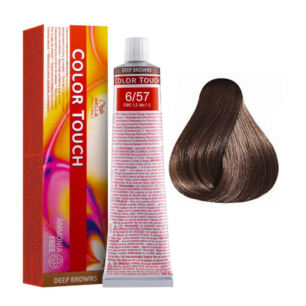 6/57 Blond Foncé Acajou Marron Wella Color Touch Vibrant Reds sans ammoniaque 60ml