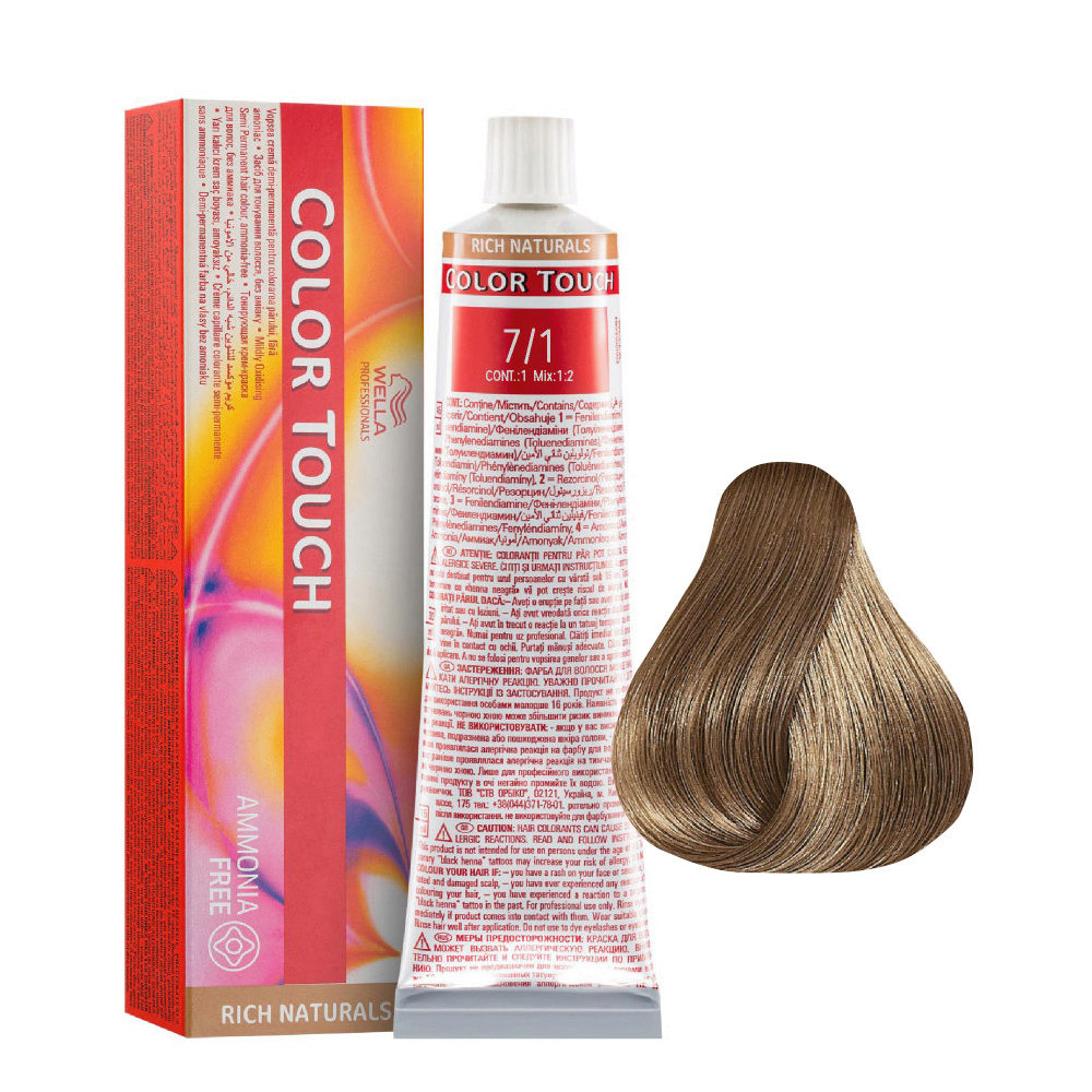 7/1 Blond moyen cendré Wella Color Touch Rich Naturals sans ammoniaque 60ml