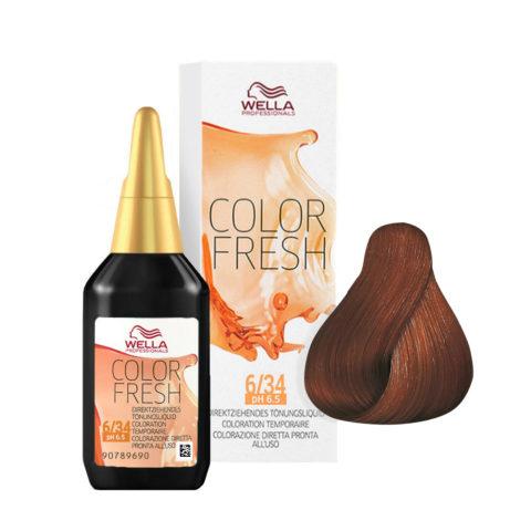 6/34 Blond foncé doré cuivré Wella Color fresh 75ml
