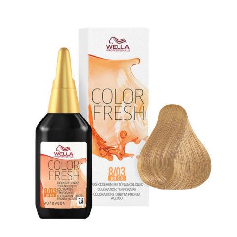 8/03 Blond clair naturel doré Wella Color fresh 75ml