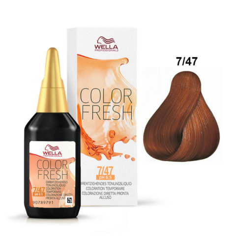 7/47 Blond moyen cuivré marron Wella Color fresh 75ml