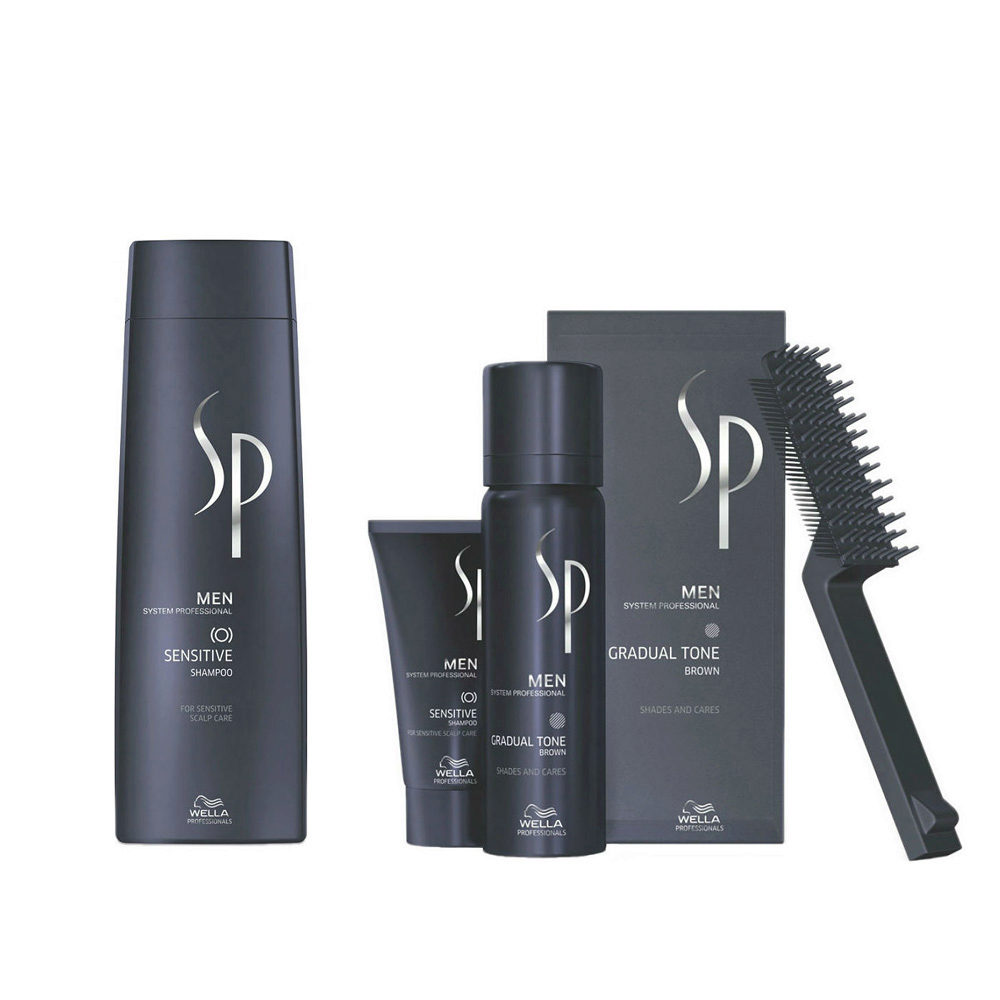 Wella SP Men Kit Sensitive Shampoo 250 ml Gradual Tone Brun 60ml