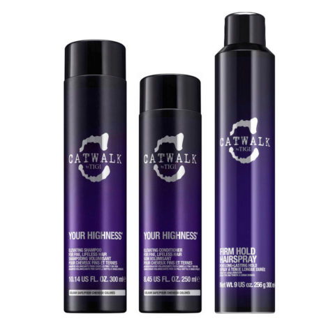Tigi CatWalk Your Highness Kit Elevating Shampoo 300ml Elevating Conditioner 250ml Firm Hold Hairspray 300ml