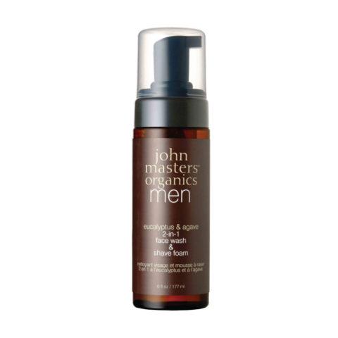 John Masters Organics Eucaliptus & Agave 2-in1 Face Wash & Shave Foam 177ml - Nettoyant Visage & Mousse de rasage