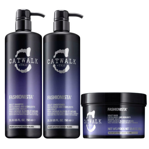 Tigi Catwalk Fashionista Violet kit shampoo 750ml conditioner 750ml mask 580gr