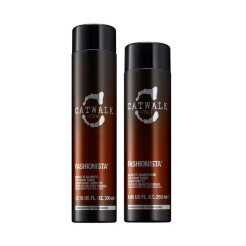Tigi Catwalk Fashionista Brunette kit shampoo 300ml conditioner 250ml - pour des reflets chauds