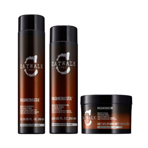 Tigi Catwalk Fashionista Brunette kit shampoo 300ml conditioner 250ml mask 200gr - reflets chauds