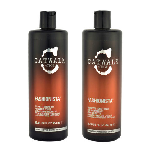 Tigi Catwalk Fashionista Brunette kit shampoo 750ml conditioner 750ml - Reflets chauds