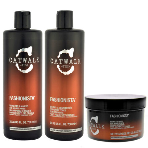 Tigi Catwalk Fashionista Brunette kit shampoo 750ml conditioner 750ml mask 580gr - Reflets chauds
