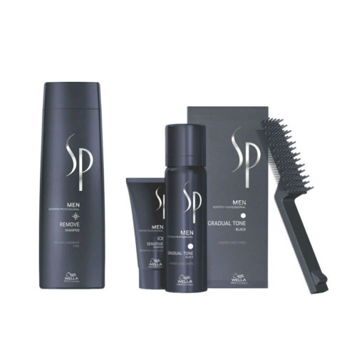 Wella System Professional Men Kit Remove Shampoo 250ml   Gradual Tone Black 60ml