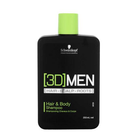 Schwarzkopf [3D]men Care Hair&Body Shampoo 250ml - Shampooing-Douche pour cheveux et corps