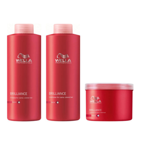Wella Brilliance Kit Shampoo 1000ml Conditioner 1000ml Mask 500ml thick hair