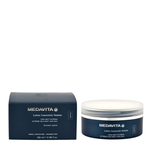 Medavita Cute Lotion concentree homme Extreme hold matt hair wax pH 6.5  100ml - Cire effet mat tenue extrême