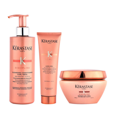 Kerastase Discipline Curl ideal Kit Cleansing conditioner 400ml Masque 200ml Oléo curl 150ml