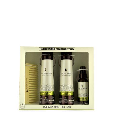 Macadamia Weightless moisture Trio: Shampooing 300ml Après-Shampooing 300ml Mist 100ml  Peigne