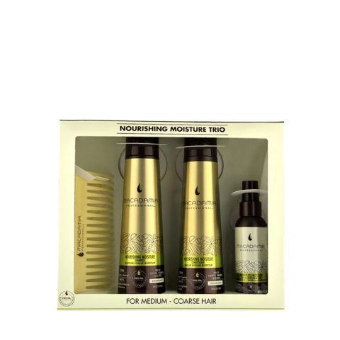 Macadamia Nourishing moisture Trio: Shampoo 300ml  Conditioner 300ml  Mist 100ml   Cadeau: Peigne!