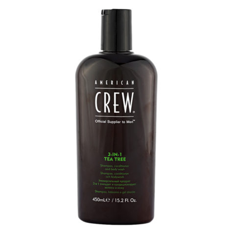 American crew Tea Tree 3 in 1 Shampoo Conditioner and Body Wash 450ml - shampooing, conditioner et gel douche