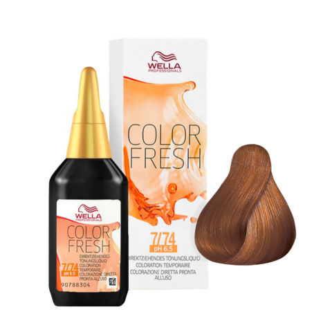 7/74 Blond moyen marron cuivré Wella Color fresh 75ml