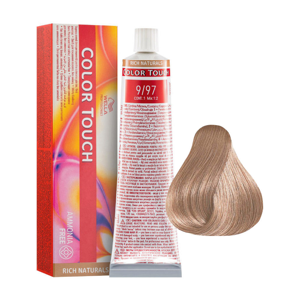 9/97 Blond platine cendré châtain Wella Color Touch Rich Naturals sans ammoniaque 60ml