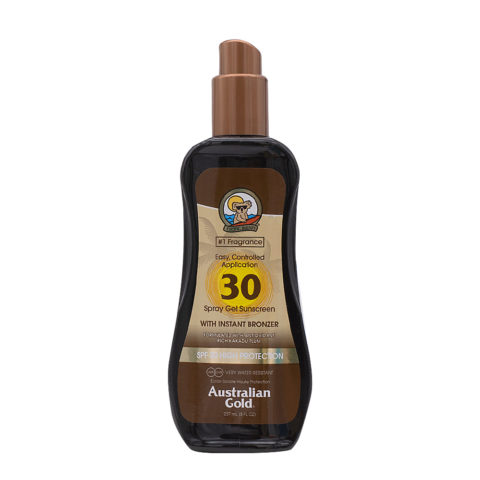 Australian Gold Protections Solaire SPF30 Spray Gel avec Agents Bronzants 237ml
