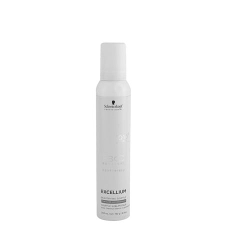 Schwarzkopf BC Excellium Beautifying Silver Souffle 200ml - Mousse pour cheveux gris ou blancs,