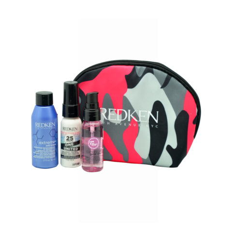 Redken Travel Kit Extreme Anti-Snap 50ml  One United Spray 30ml  Diamond Oil Glow dry oil 30ml Cadeau pochette