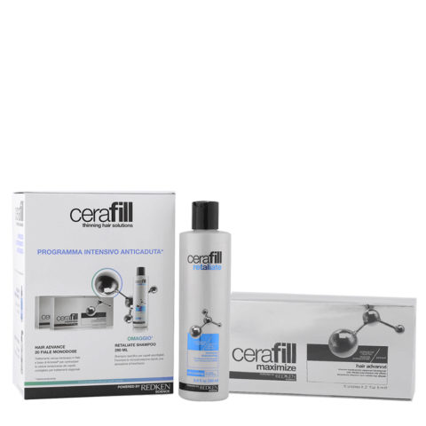 Redken Cerafill Intensive anti hairloss kit Retaliate shampoo 290ml Maximize Hair advance 20x6ml