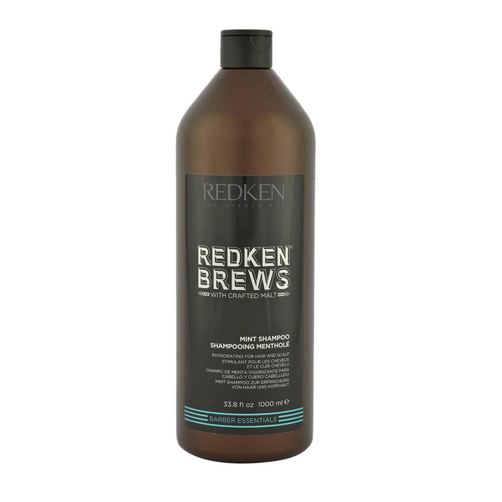 Redken Brews Man Mint Shampoo 1000ml - shampooing stimulant à la mente
