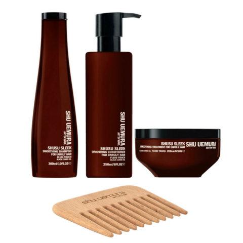 Shu Uemura Shusu Sleek Shampoo 300ml Conditioner 250ml Mask 200ml - free comb