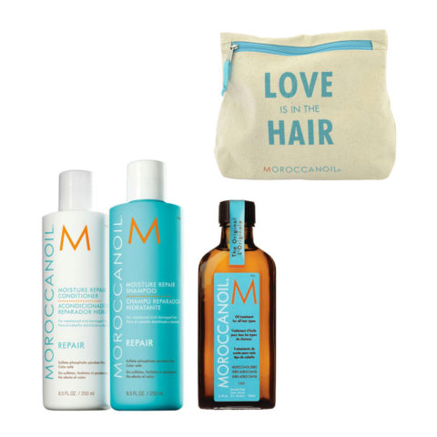 Moroccanoil Kit8 Moisture Repair Shampoo 250ml conditioner 250ml Oil Treatment 100ml  Cadeau pochette