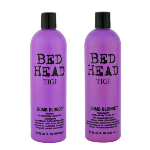 Tigi Bed head Dumb blonde Kit Shampoo 750ml + Conditioner 750ml Pour Cheveux Blondes Traités Chimiquement