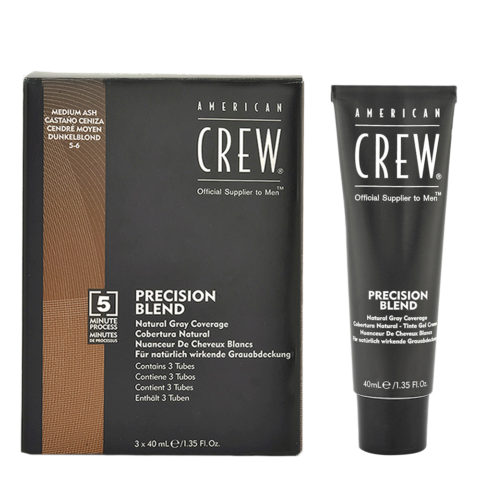 American Crew Classic Precision Blend 5-6 châtain moyen cendré 3x40ml - coloration pour hommes