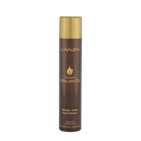 L' Anza Healing Oil Brush Thru Hairspray 350ml - Laque tenue flexible