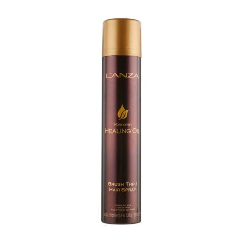 L' Anza Healing Oil Brush Thru Hairspray 350ml - Laque tenue flexible