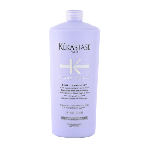 Kerastase Blond Absolu Bain ultra violet 1000ml - shampooing anti-jaune pour cheveux blonds ou gris