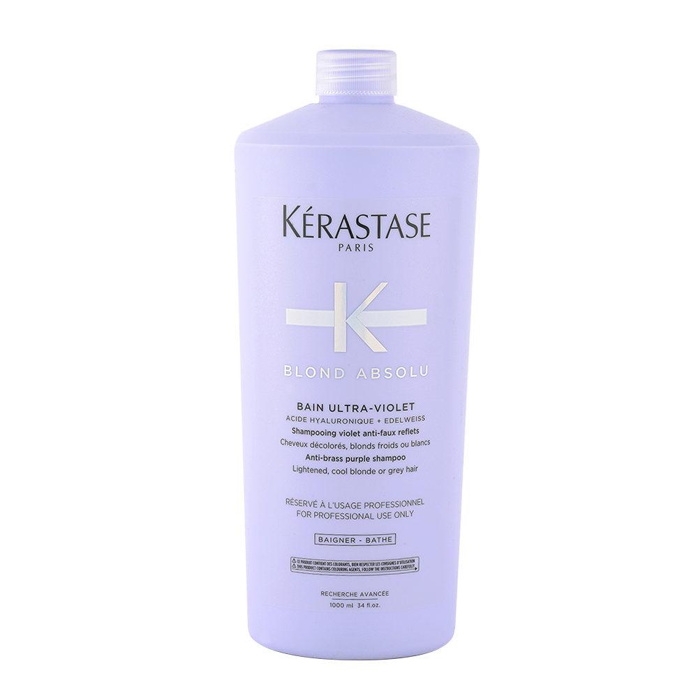 Kerastase Blond Absolu Bain ultra violet 1000ml - shampooing anti-jaune pour cheveux blonds ou gris