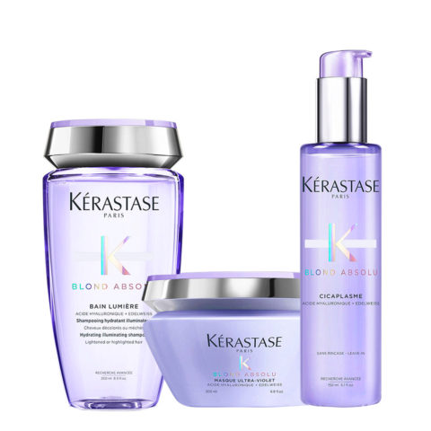 Kerastase Blond absolu Kit Bain lumiere 250ml Masque 200ml Cicaplasme 150ml