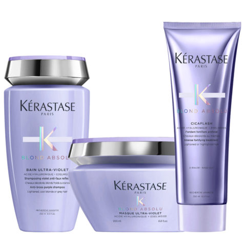 Kerastase Blond absolu Kit Bain ultra violet 250ml Cicaflash 250ml Masque 200ml pochette cadeau