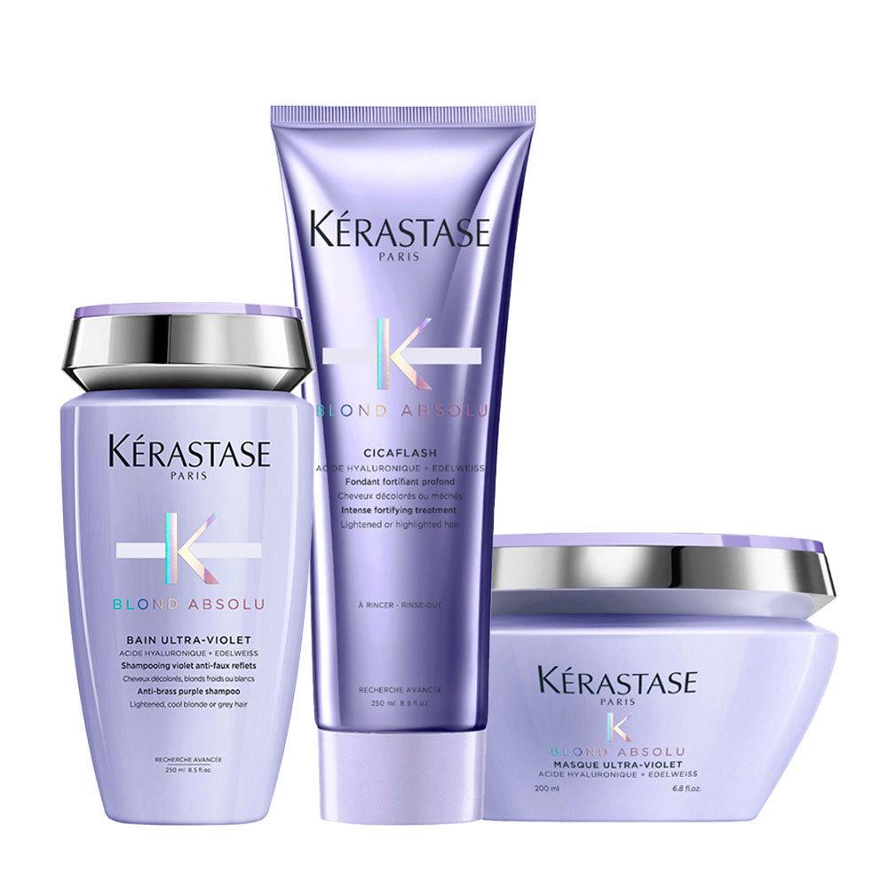 Kerastase Blond absolu Kit Bain ultra violet 250ml Cicaflash 250ml Masque 200ml
