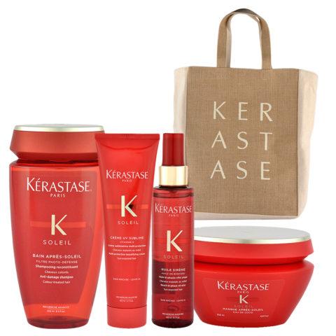 Kerastase Soleil Kit Shampoo 250ml Creme UV Sublime 150ml Huile Sirene 150ml Masque 200ml - sac de plage en cadeau