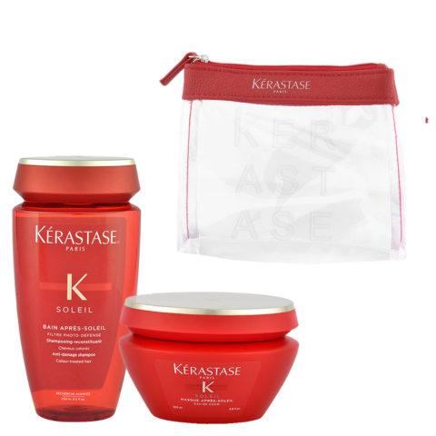 Kerastase Soleil Kit Shampoo Après Soleil 250ml Masque Après Soleil 200ml - pochette en cadeau