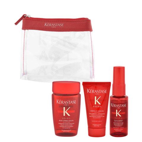 Kerastase Soleil Kit Shampoo 80ml Creme UV Sublime 50ml Huile Sirene 45ml - pochette en cadeau