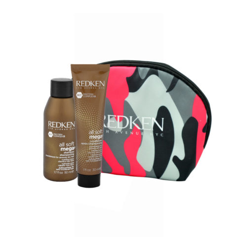 Redken Kit All Soft Mega Shampoo 50ml Conditioner 30ml pochette cadeau