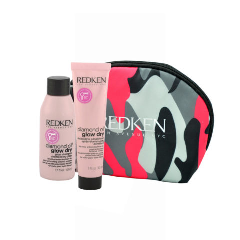 Redken Diamond Oil Glow Dry Gloss Shampoo 50ml Detangling Conditioner 30ml pochette cadeau