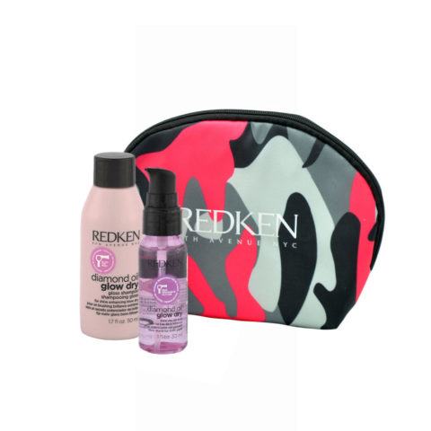 Redken Diamond Oil Glow Dry Gloss Shampoo 50ml Shine Oil 30ml pochette cadeau