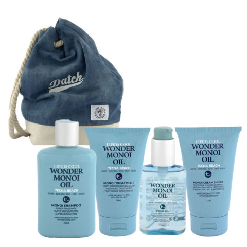Tecna Beach Wonder Monoi kit Shampoo 250ml Treatment 150ml Oil 100ml Cream 200ml + sac à dos Datch